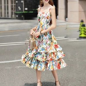 White MultiColor Floral Print Ruffle Dress Large